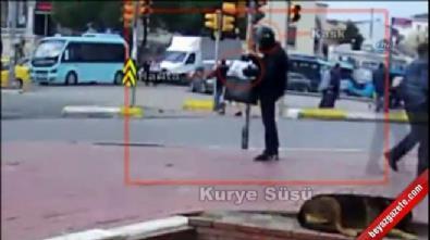 Babasına bomba gönderen kurye kılığındaki şahıs kamerada