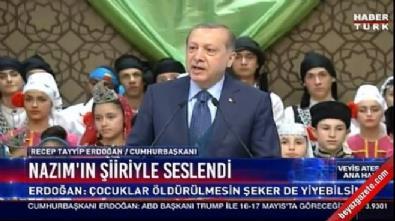Erdoğan çocuklara Nazım Hikmet şiiri okudu