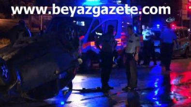 Polislerin içinde bulunduğu araç takla attı!