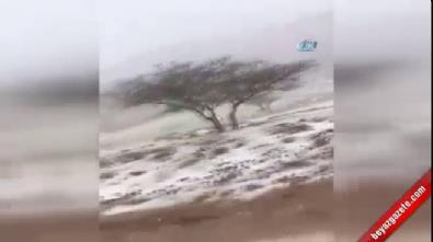 Birleşik Arap Emirlikleri'nde çöle kar yağdı!