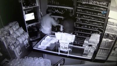 Sigara ve alkol hırsızlığı kamerada