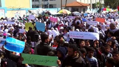 UNRWA çalışanları ABD'nin kararını protesto etti - GAZZE