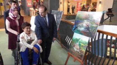 Engelli kadın ağzıyla yaptığı tablolardan elde ettiği geliri Mehmetçiğe bağışladı
