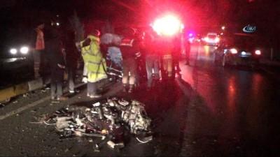 Karşı şeride geçen araç TIR'la kafa kafaya çarpıştı:1 ölü, 1 yaralı