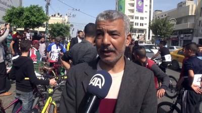 Gazze'de 'Büyük Dönüş Yürüyüşü' öncesi bisiklet yarışı