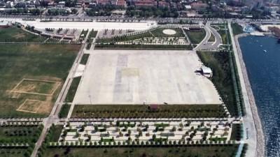 Maltepe Miting alanındaki 1 Mayıs çalışmaları havadan görüntülendi