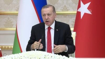 """Cumhurbaşkanı Erdoğan: """"İnşallah aramızdaki ticaret hacmini 5 milyar dolara çıkaracağız"""" - TAŞKENT"""