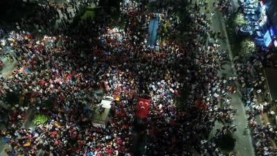 Trabzon'da AK Parti'de kutlamaları havadan böyle görüntülendi