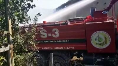 Köyde çıkan yangına helikopter müdahale etti