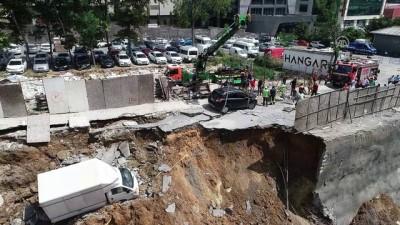 Ümraniye'de inşaatın perde duvarı çöktü - Havadan görüntüler- İSTANBUL