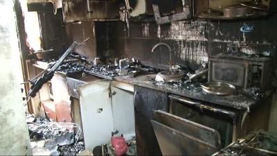 Kağıthane'de 5 katlı apartmanın birinci katında çıkan yangında ev küle döndü