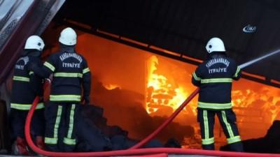 Tekstil fabrikasındaki yangın havadan görüntülendi