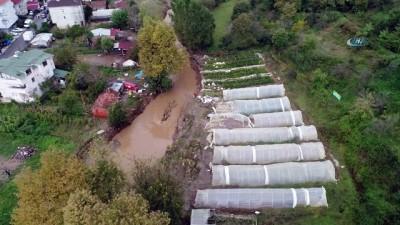 Beykoz'da taşan derenin verdiği hasar havadan görüntülendi