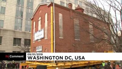 Washington'un en büyük sinagogu uzaktan kumandalı vinçle sokak değiştirdi
