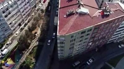 Şişli'de tahliye edilen 4 bina havadan görüntülendi