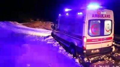 Kardan yolu kapanan köyde hasta kurtarma operasyonu