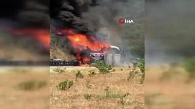 Marmaris'te yolcu otobüsü cayır cayır yandı, 25 yolcu ölümden döndü