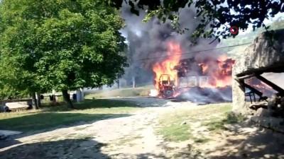Saman yüklü kamyon alev alev böyle yandı