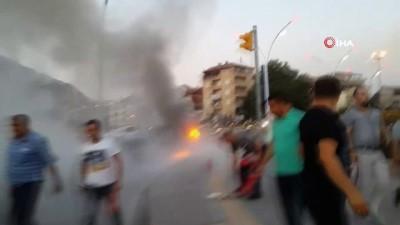 Köprü üzerinde korkutan araç yangını
