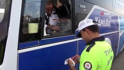 Otobüs yangınlarından sonra sıklaştırılan denetimler havadan görüntülendi