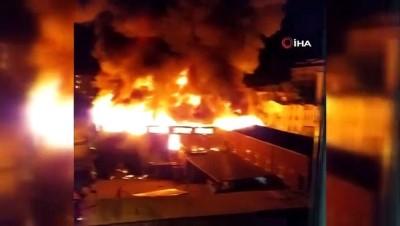 Sultanbeyli'deki yangın havadan görüntülendi
