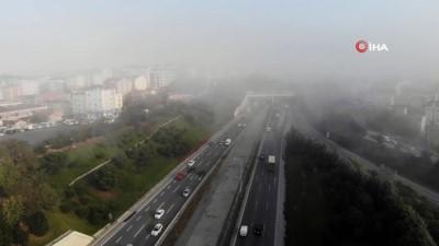 TEM Otoyolu'nda etkili olan sis havadan görüntülendi