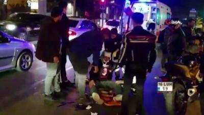 Direksiyon hakimiyetini kaybedip düşen motosikletli ağır yaralandı
