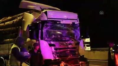 Anadolu Otoyolu'nda tomruk yüklü tır kamyonla çarpıştı: 1 yaralı - DÜZCE