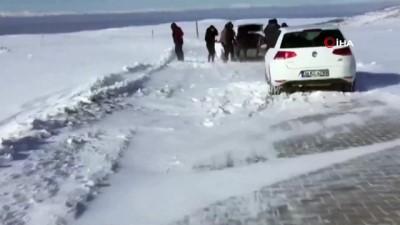 Karacadağ'a giden kayakçılar tipide mahsur kaldı