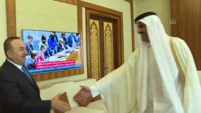 Dışişleri Bakanı Çavuşoğlu - Katar Emiri Şeyh Temim bin Hamed Al Sani görüşmesi - DOHA