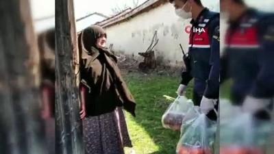 Jandarma ekiplerinin yardımı Hatice Teyze'yi duygulandırdı