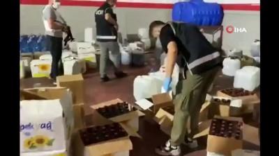 Gaziantep'te bir ton 500 kilo sahte alkol ele geçirildi