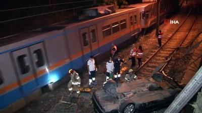 Şirinevler'de otomobil metro raylarına uçtu: 1 yaralı