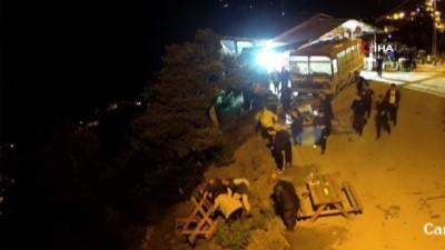 Artvin'de ilginç kaza.... Piknik masası devrildi iki kişi uçuruma böyle yuvarlandı