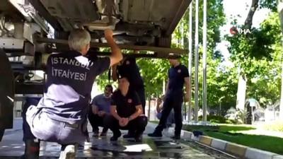 Fatih'te otomobilin içine giren yılan itfaiye ekipleri alarma geçirdi
