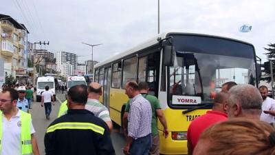 Körüklü belediye otobüsünün ikiye bölündüğü kaza kamerada