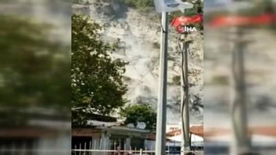 Söke'de deprem sonrası taş ocağından kopan kaya parçaları böyle yuvarlandı