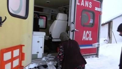 - Köyde mahsur kalan hasta kadın paletli ambulansla kurtarıldı