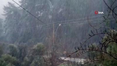 Marmaris'in yüksek kesimlerine kar yağdı