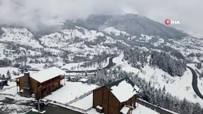Sakin şehir Şavşat'tan kartpostallık kar manzaraları