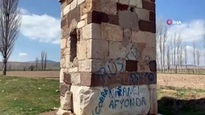 Tarlanın ortasında 'Kırık Minare'yi görenler şaşkınlıklarını gizleyemiyor