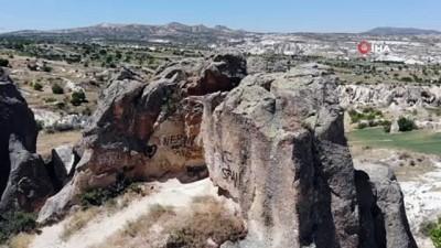 İHA gündeme getirdi, Kapadokya'da peribacaları sprey boyalardan temizlendi