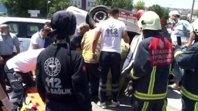 Yenibosna'da kaza yapan otomobilde sıkışan sürücü itfaiye ekipleri tarafından kurtarıldı