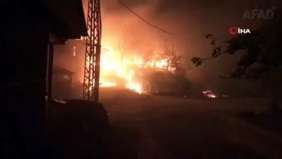 Anne ve kızı yangınların arasından kurtarıldı